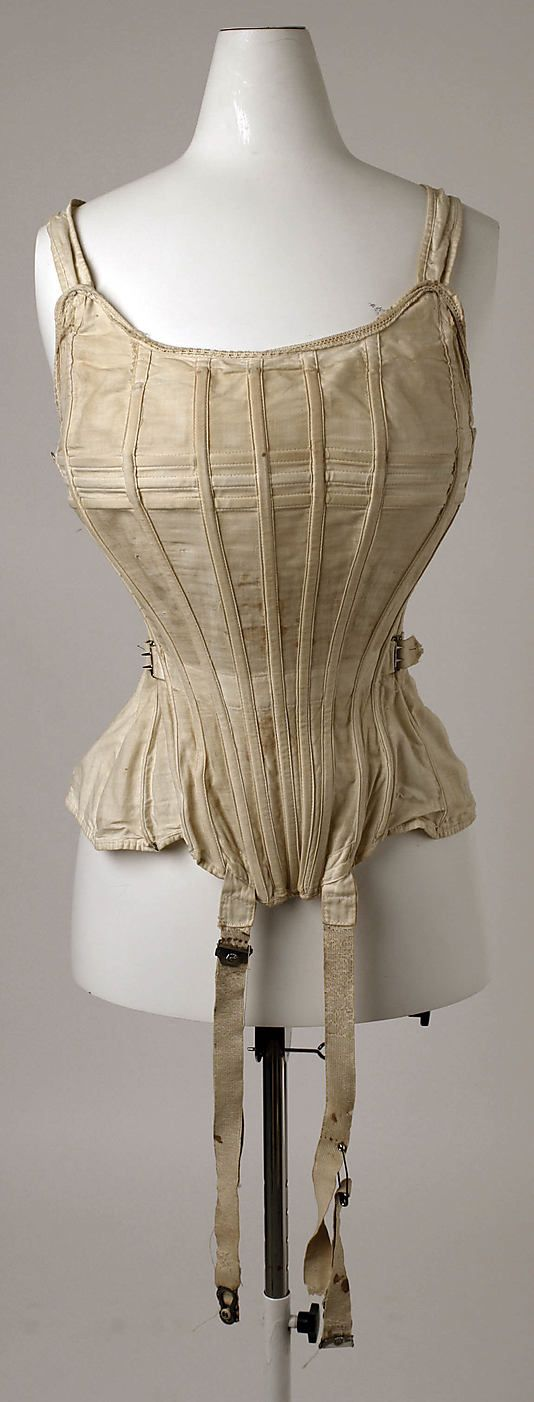 """Corset, The Sahlin Company (American): 1900-1912, American, cotton. Marking: [label] """"Sahlin Perfect Form and Corset Combined"""""""