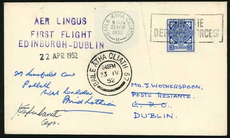 1952 (Apr. 22) Aer Lingus first flight Edinburgh-Dublin