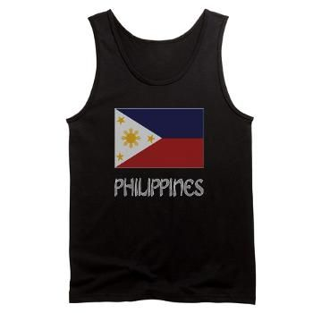 #Filipino Flag and Grey Philippines Tank Top >  Filipino Flag Gear from @Auntie Shoe -- Men's tank top shows the Filipino flag and the word PHILIPPINES below in grey letters.
