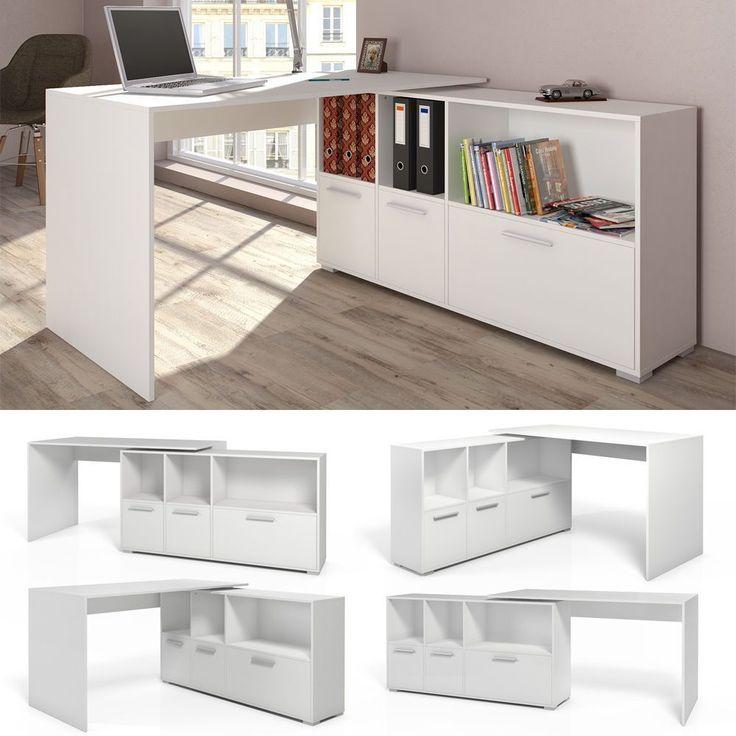 Computer Portable L Shaped Desk Corner Home Work White