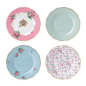 SET OF 4 | VINTAGE MIXED PLATES | 18CM  by Spring Tea with Royal Albert