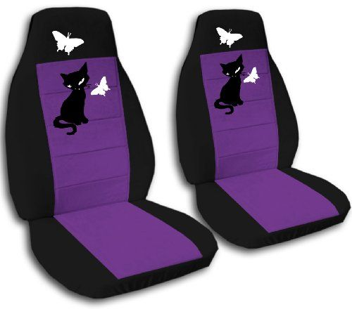 2 Front Black And Purple Seat Covers With A Kitten And