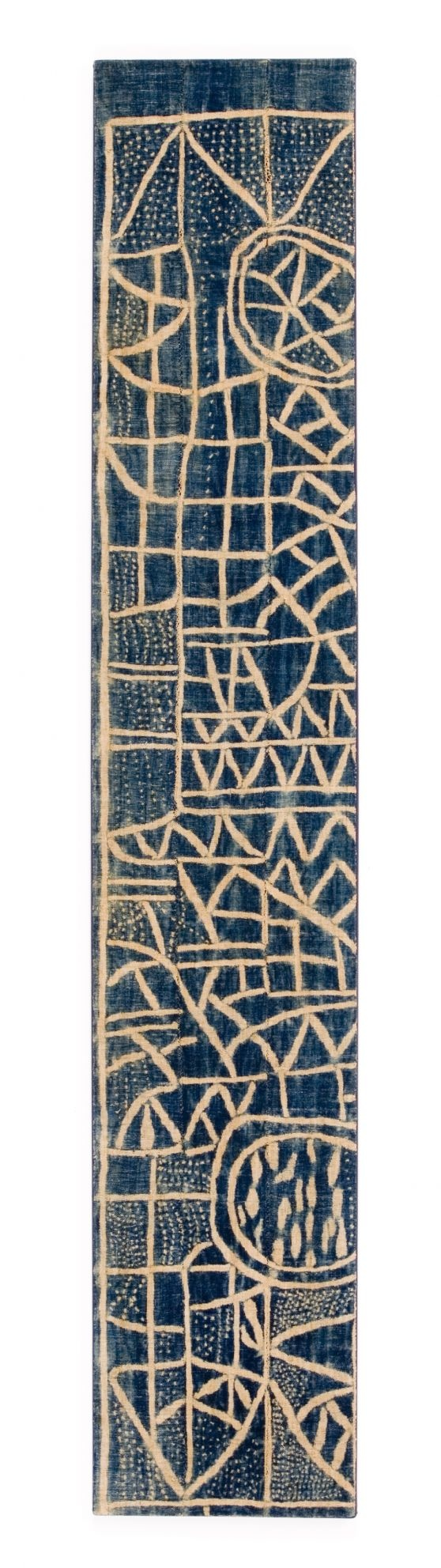 """Panel from a Ndop Ceremonial Hanging. Bamum or Bamileke people, Cameroon. First half 20th century Strip woven cotton stitch-resist dyed with indigo. Size: 12 3/4"""" x 69"""" (32 x 172.5cm)."""