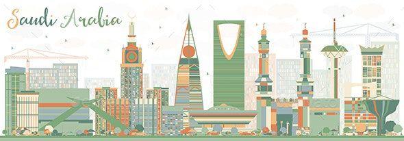 Abstract Saudi Arabia Skyline With Color Landmarks Abstract Flower Background Wallpaper National Day Saudi
