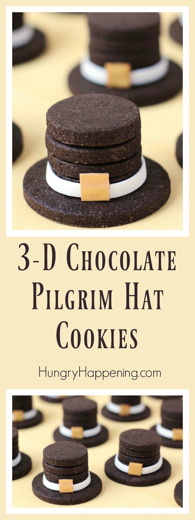 You wont believe how easy it is to create these 3-D Chocolate Pilgrim Hat Cookies for your Thanksgiving dinner. These holiday treats will definitely wow your party guests.