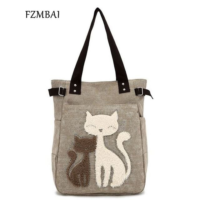 Sale $17.99, Buy FZMBAI 2017 Fashion Women's Handbag Cute Cat Tote Bag Lady Canvas Bag Shoulder bag