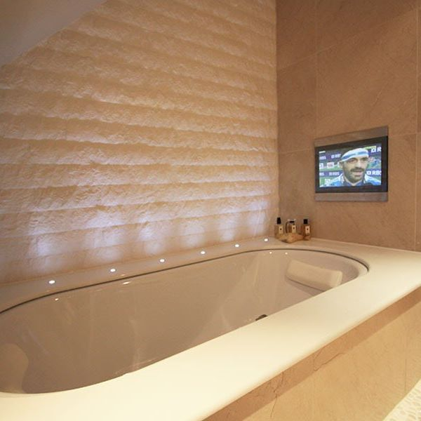 Perfect Waterproof Tv for the bath Real luxury luxury luxurybathroom interiordesign