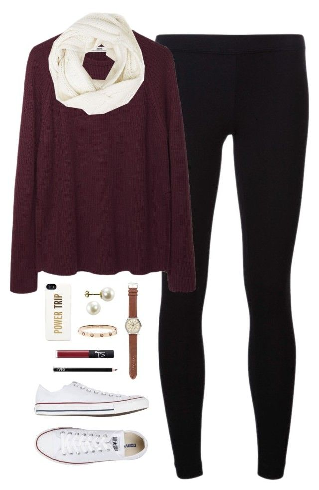 """fall breakkk"" by classically-preppy ❤ liked on Polyvore featuring James Perse, Hope, Converse, Kate Spade, J.Crew, NARS Cosmetics and Christopher Fischer"