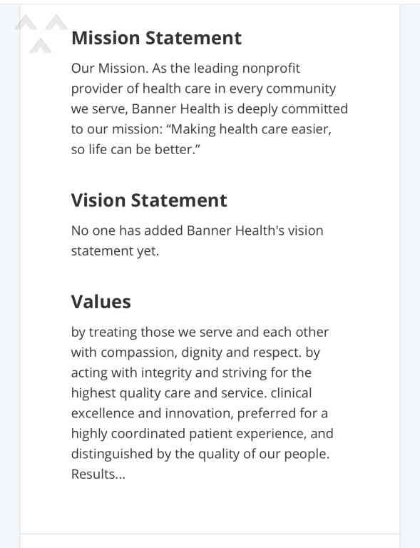 Banner Health Mission And Vision Statement Vision Statement Best Vision Statements Mission