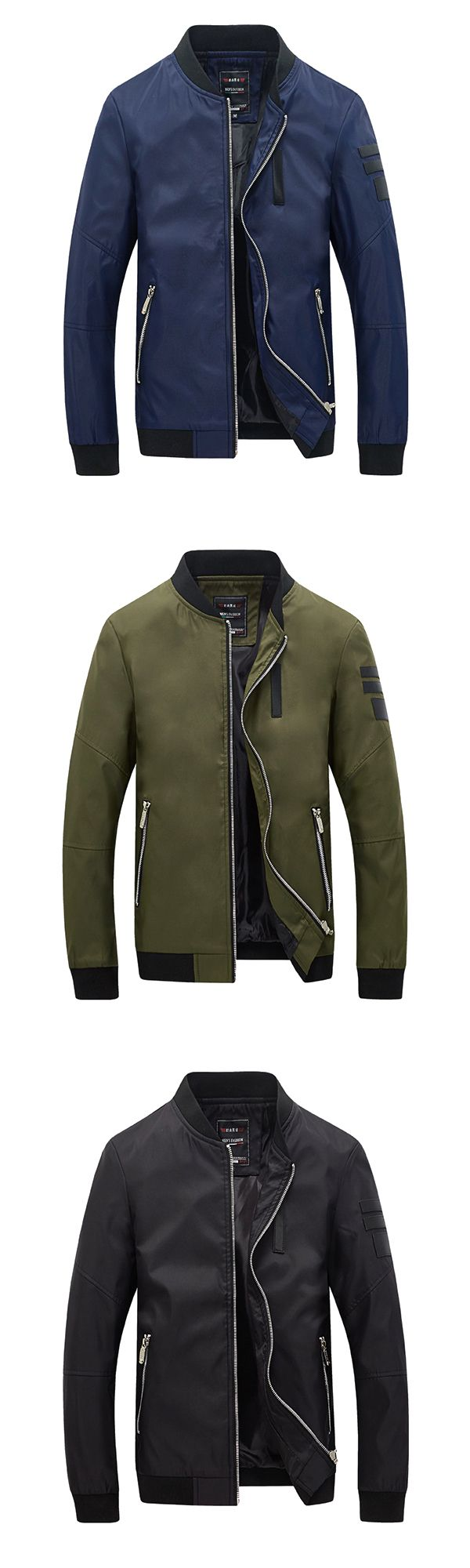 Casual Leather Jacket For Men: Stickers Stand / Collar Bomber