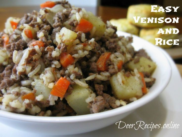 Easy Venison and Rice is a quick simple meal made up of fried ground venison, onions, garlic, carrots, potatoes, and rice and then lightly doused with soy sauce. This recipe can be a side dish or the main course.  #venison #rice #venisonandrice #meatandve (Ground Recipes Venison)
