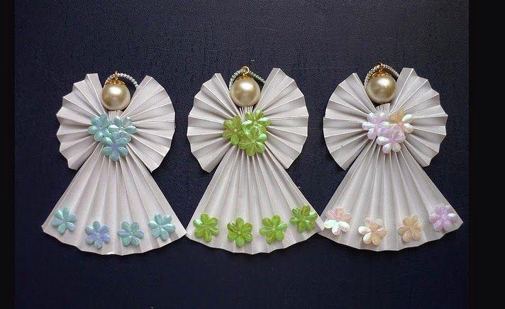 Como fazer lindos anjos de papel e pérolas para árvore de natal, presentes e lembrancinhas de maternidade ~ VillarteDesign Artesanato