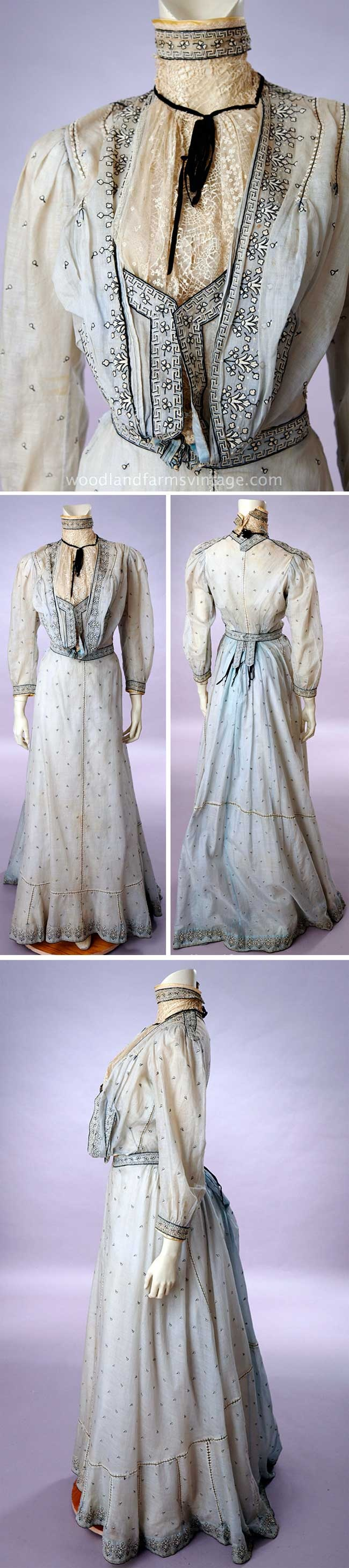 Pale blue 2-piece pigeon waist dress, no date. Boned cotton camisole closing w/hooks at center front. Lace collar & jabot hook onto camisole. Blue cotton lawn outer waist hooks below jabot for vestee effect. Narrow black velvet ribbon at collar with bow. Bodice front heavily decorated w/embroidery & clocking. Long, sheer narrow sleeves have narrow cuff w/matching embroidery. White cotton petticoat w/narrow ruffles. Skirt has matching handwork in black & ivory, & clocking. Woodland Farms Vintage