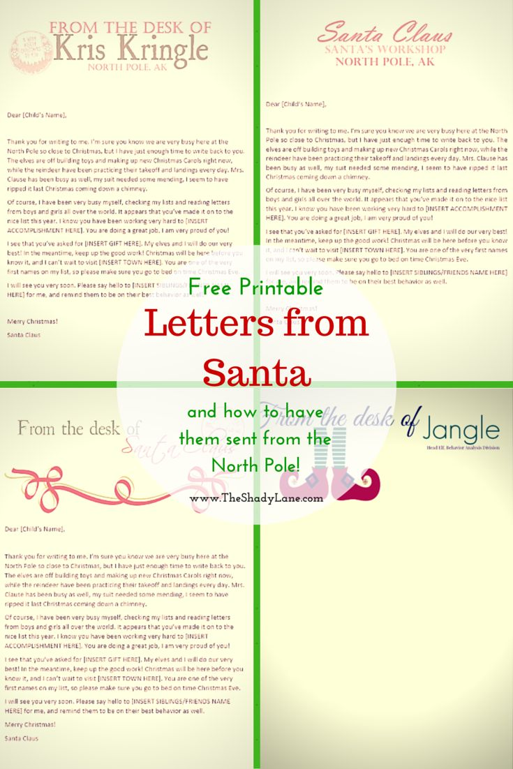 #Free #printable letters from #Santa and his elves - wow your kids with official looking letters! Learn how to get them postmarked from the North Pole too!