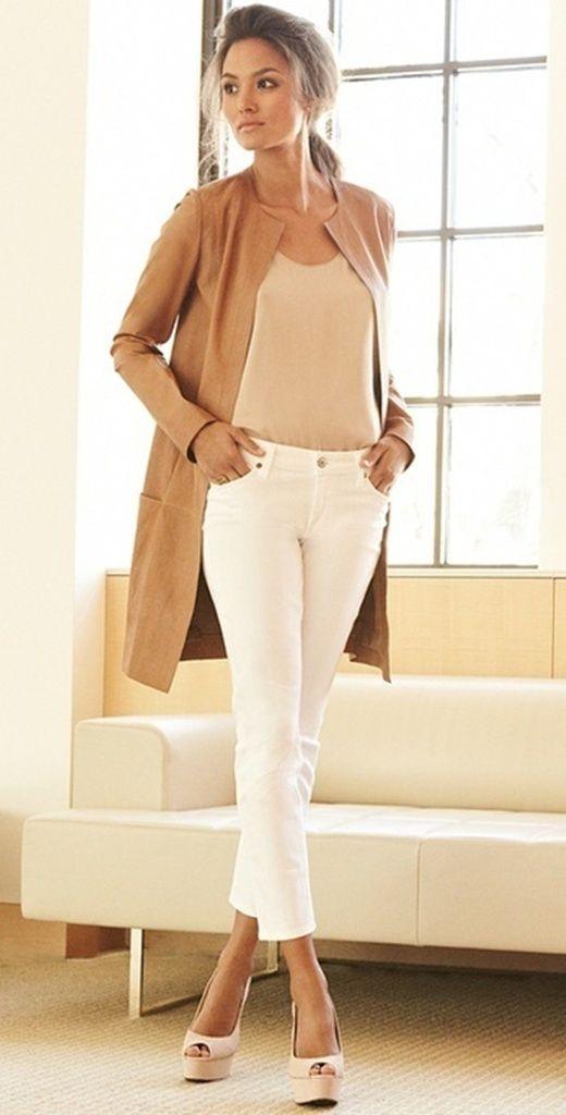 Tan cardigan, tee & white jeans