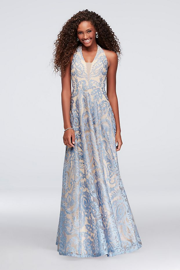 484260cc0a1 Pretty embroidery and an edgy illusion plunge halter neckline create a  stunning contrast on this soft mesh A-line dress. By Speechless Polyester  Back zipper ...