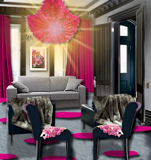 un salon rose et gris salons. Black Bedroom Furniture Sets. Home Design Ideas