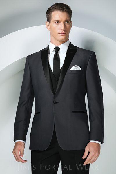 Groom Attire - Tony Bowls Gray Portofino slimfit tuxedo shown with black pants...from wwwjimsformalwear.com