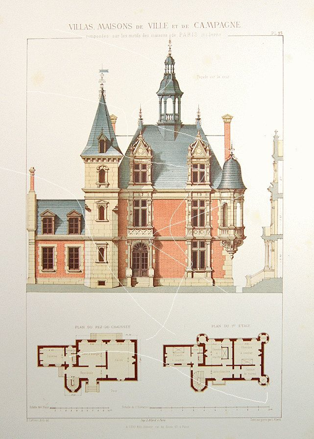Antique Architectural Print Architecture 1864 by Printvilla4you  (I would make both the main house and the kitchen wing a wider and deeper.)