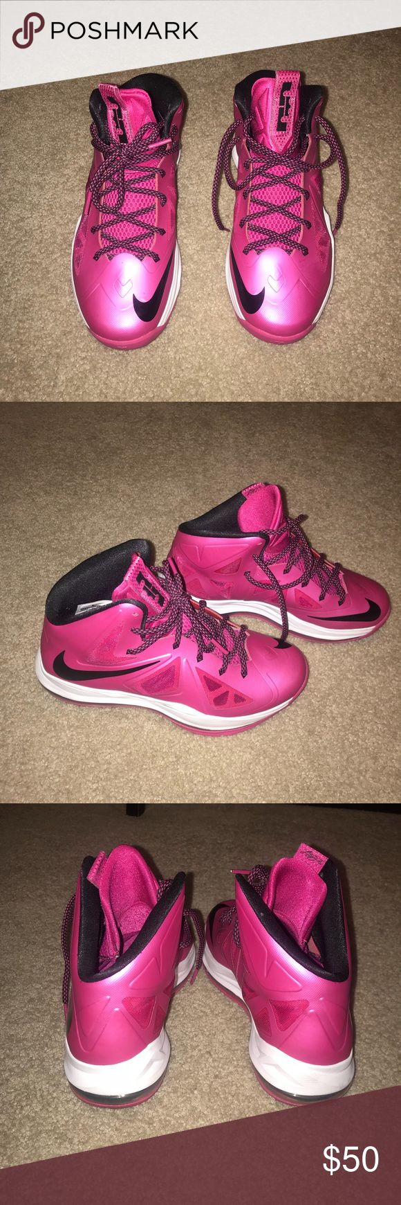Nike-pink Lebron's. Size youth 6.5. These sneakers have hardly ever been worn. Great condition, and cute for a casual outfit or pop of color. Do not have original box. Nike Shoes Athletic Shoes