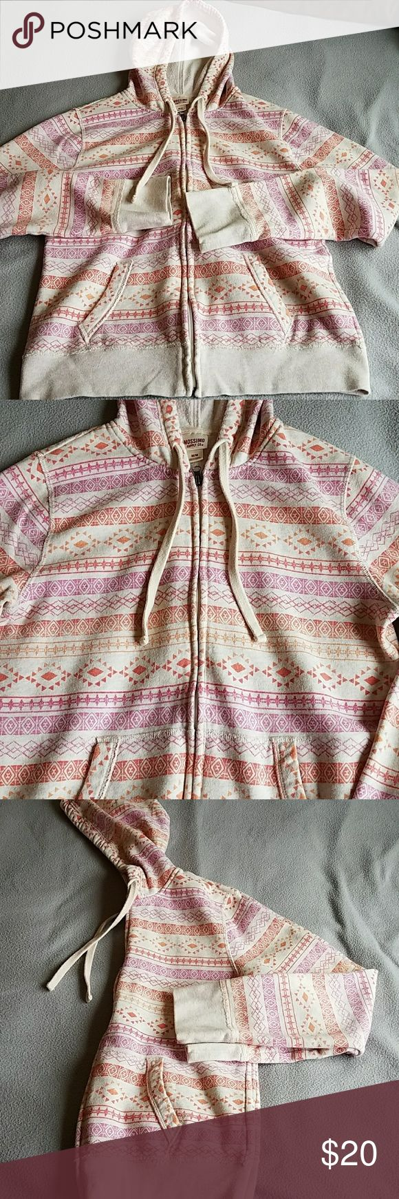 Zip up sweatshirt Cream background, pink and orange design. Mossimo Supply Co Tops Sweatshirts & Hoodies