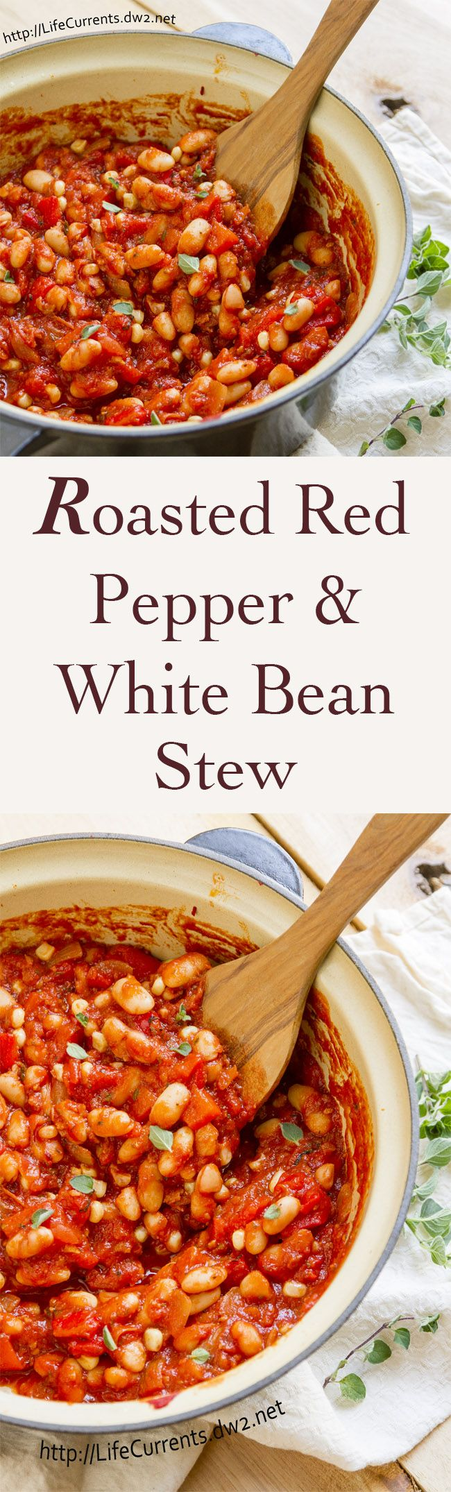 Roasted Red Pepper and White Bean Stew a great vegan & and gluten-free stew that anyone, even meat eaters will adore. Perfect comfort food!