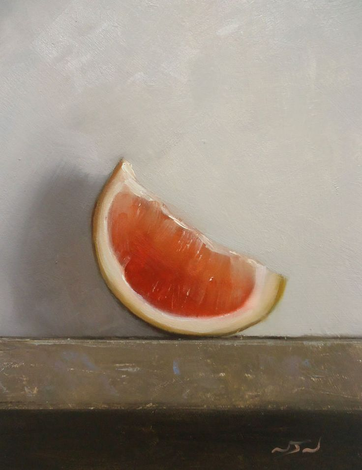 Original Oil Painting - Pink Grapefruit - Contemporary Still Life Art - Nelson