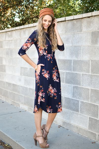 Navy Floral Print 3/4 Sleeve Dress - My Sisters Closet