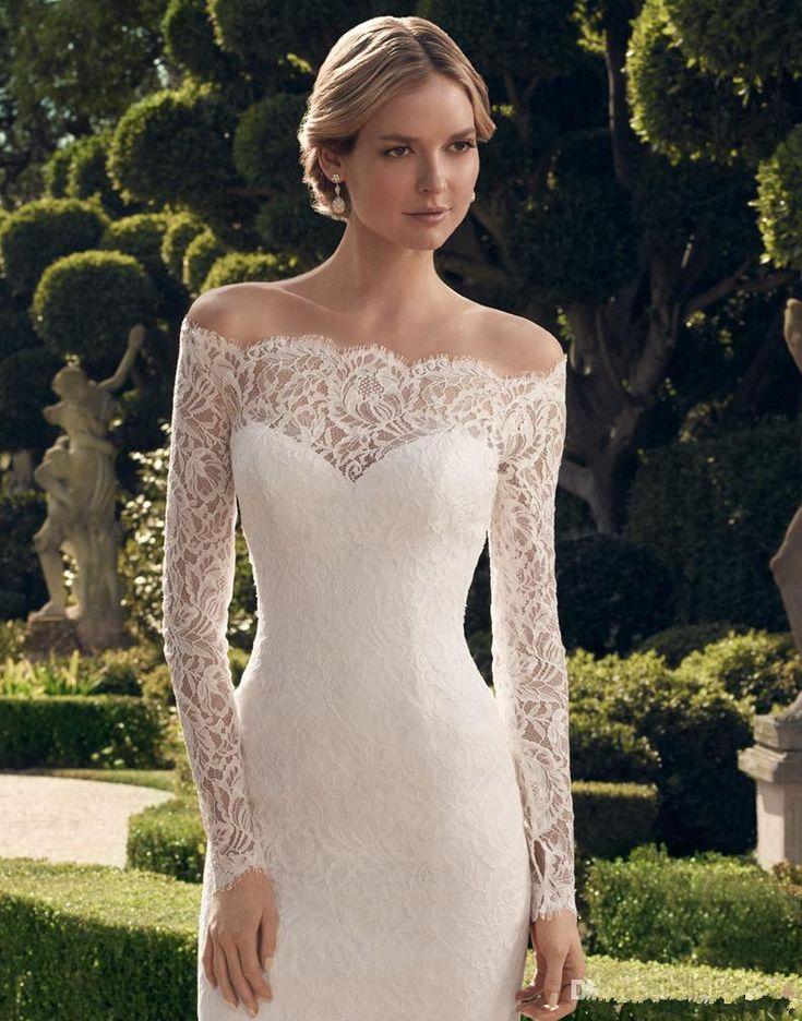 Vente en gros de 2015 livraison rapide longueur au genou manches longues en dentelle festonnée encolure voir à travers la gaine corset robe de mariée courtes robes de mariée, $146.6 sur Fr.dhgate.com | DHgate
