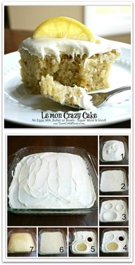 Lemon Crazy/Wacky Cake (also know as Depression Cake) No Eggs, Milk, Butter or Bowls! Super Moist  Good! Fun activity to do with kids! Great go-to recipe(s) for egg/dairy allergies. Chocolate, Vanilla  Spiced versions too!