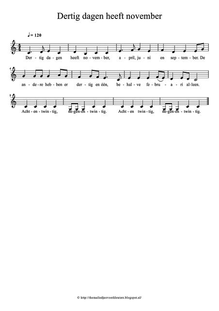 Thema liedjes voor kleuters: Dertig dagen heeft november, april, juni en september. Liedje, bladmuziek, tekst, melodie, versje, 28 / 29 / 30 / 31 dagen van de maand.