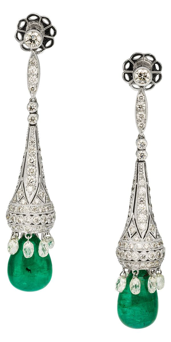 Diamond, Emerald, White Gold Earrings The earrings feature teardrop-shaped emeralds weighing a total of 18.66 carats, enhanced by full and briolette-cut diamonds weighing a total of 7.10 carats, set in 18k white gold. Gross weight 19.40 grams.