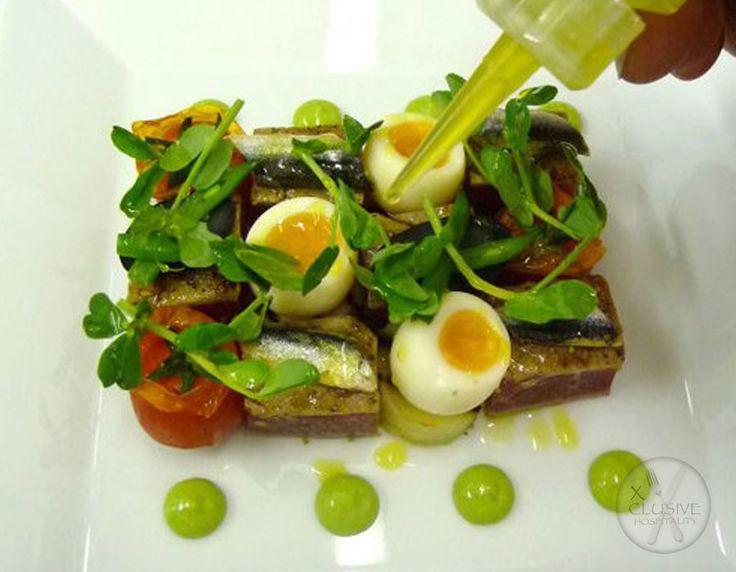 Seared Tuna, Boiled Quails Egg, Pea Puree, Avocado Oil. #catering #events #leicestershirefood #xclusive