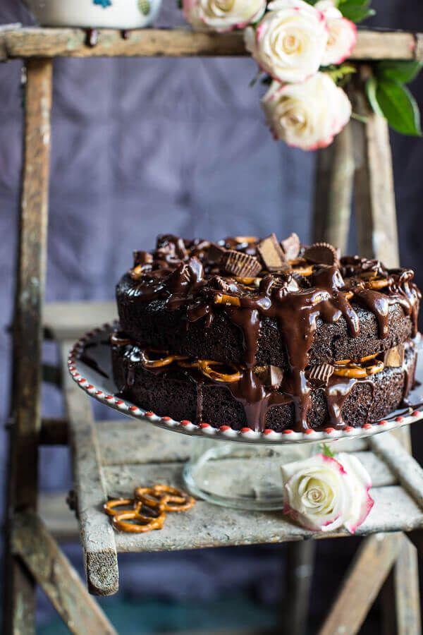 Fudgy One-Bowl Chocolate Peanut Butter Cup Pretzel Cake   halfbakedharvest.com @hbharvest