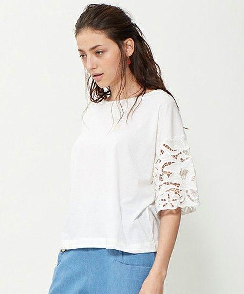 Marilyn Moon(マリリンムーン)の「カットワーク刺繍シャツ/MARILYN MOON(Tシャツ・カットソー)」 - WEAR