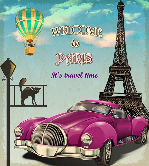 Vintage car with travel poster vector set 02