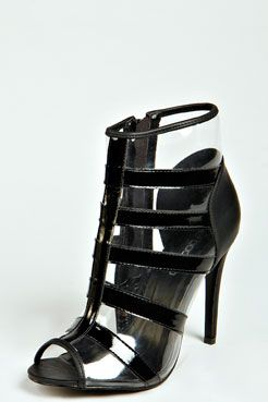 Shirley Strappy Perspex Shoe Boots at boohoo.com
