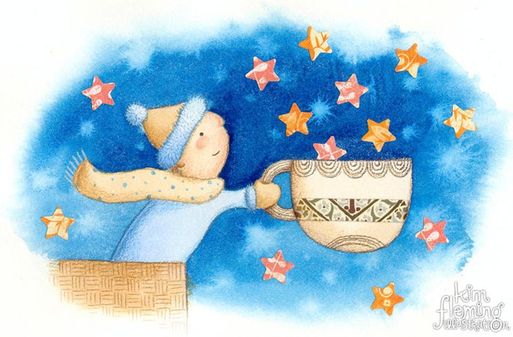 catch a falling star - watercolours and collage
