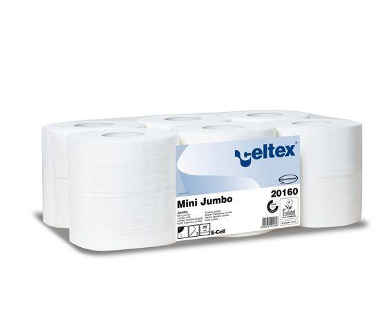 Carta igienica Mini Jumbo con doppio velo, più resistente e realizzata in pura ovatta di cellulosa. Lunghezza rotolo: 160 mt. Confezione da 12 rotoli.