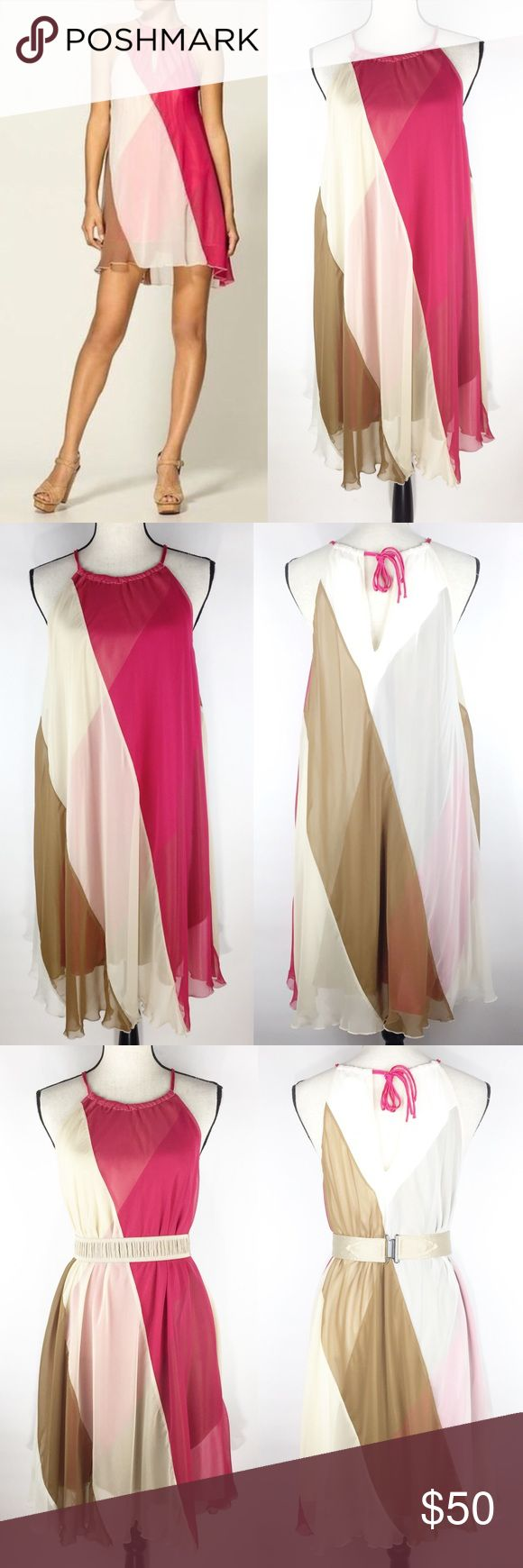 """{Free People} Chiffon Tent Party Cocktail Dress For sale is a gorgeous Free People chiffon tent dress. Two layers. Ties at the neck. Silky smooth feel. Sleeveless. Keyhole neckline. Hot pink, gold and beige colors.  ▪️Size: L ▪️Fabric: 100% polyester Measurements laying flat:  ▪️Length: 35"""" ▪️Pit to pit: 21"""" ▪️Condition: Excellent preowned condition. Clean. No stains, rips or tears. *** Belt not included. Free People Dresses"""