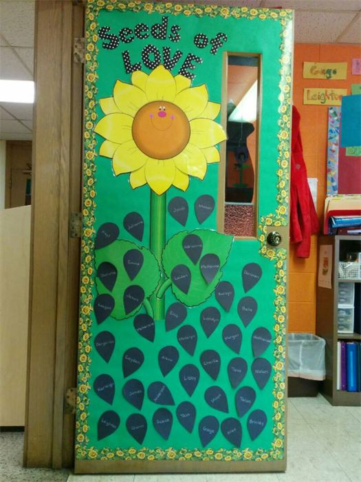 Easy Classroom Decor Ideas ~ Seeds of love flower themed spring bulletin board
