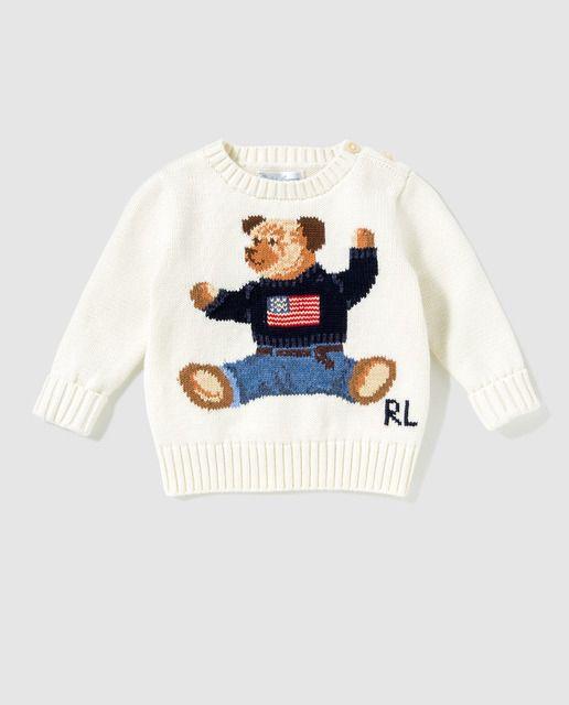 Jersey de bebé niño Polo Ralph Lauren en blanco con intarsia  021224d35b6