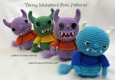 Amigurumi To Go: Yarny Monsters, Free Crochet Pattern and Vide, stuffed toy, #haken, gratis patroon (Engels), monster, knuffel, speelgoed, #haakpatroon