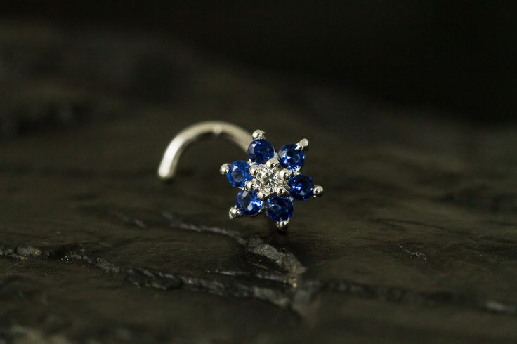 Sapphire CZ Gems flower nose stud/nose ring/nose screw by PiercingRoomByJay on Etsy
