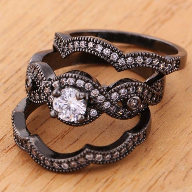 3pcs  Fashion 14KT Black Gold Filled White Sapphire Gemstone Ring K490 $3.99
