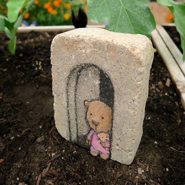 Garden plot chalk art #3: bear with a bear. The Farm at St. Joe's, Ann Arbor, Mitchigan (September, 2015) - street art by David Zinn