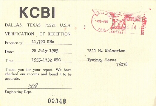 Qsl card from kcbi qsl card from shortwave radio station kcbi dallas