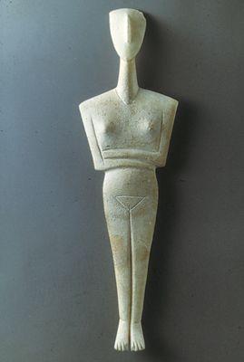 Female figurine. Marble. Early Cycladic II Period (ca. 2800 – 2300 B.C.)