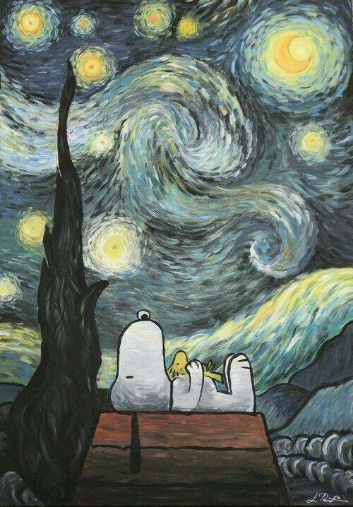 Snoopy y la noche estrellada