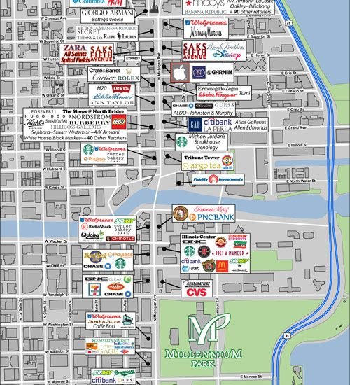 Magnificent Mile Shopping Map | Retail Area Map | The Wrigley Building Chicago Illinois